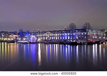 Enlightened medieval building in Amsterdam Netherlands