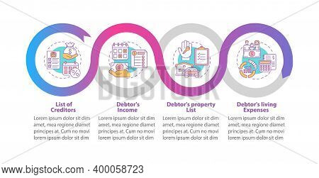Creditor And Debtor Contract Vector Infographic Template. Bankruptcy Presentation Design Elements. D