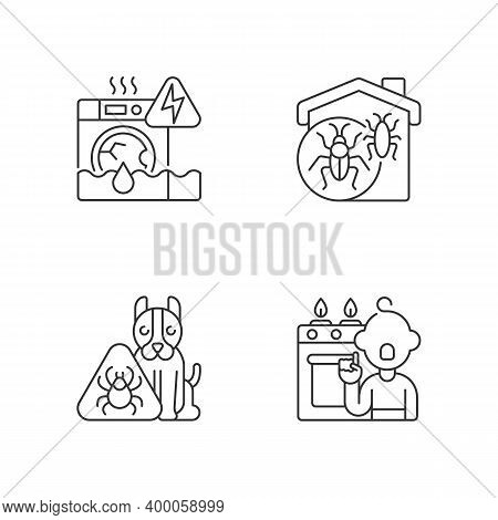 Unsafe Home Situations Linear Icons Set. Household Appliances Malfunction. Pet Hazards. Childhood Tr