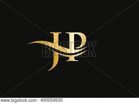 Jp Letter Logo Design. Jp Logo For Luxury Branding. Elegant And Stylish Design For Your Company.