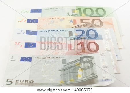 Euro Banknotes In A Row
