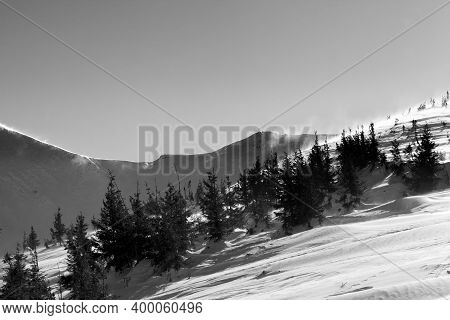 Winter Snowy Mountains At Sun Windy Day. Ukraine, Carpathian Mountains, Mount Hoverla. Black And Whi
