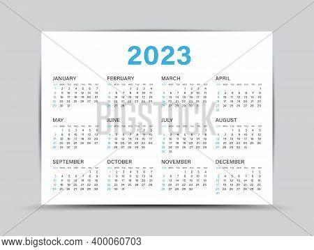 Calendar 2023 Template - 12 Months Yearly Calendar Set In 2023, Planner, Wall Calendar 2023, Vector