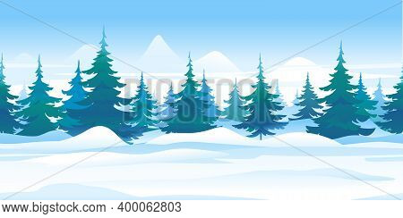 Winter Nature Landscape With Spruce Trees Tillable Horizontally, Beautiful Winter Day On Snowy Path