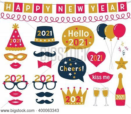 New Year 2021 Vector Photo Booth Props Set