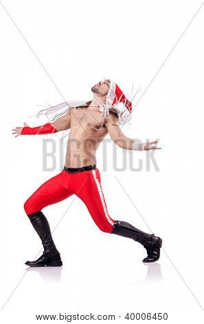 Dancing santa isolated on the white