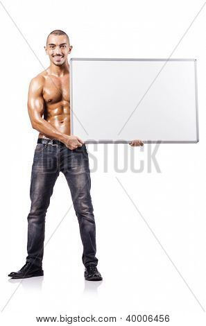 Naked man with blank board