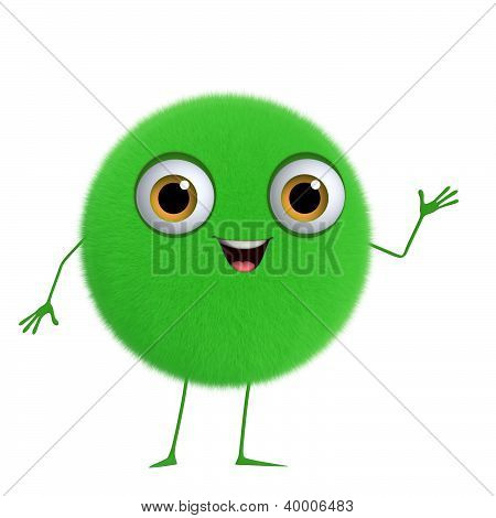 3D Cartoon Cute Green Ball