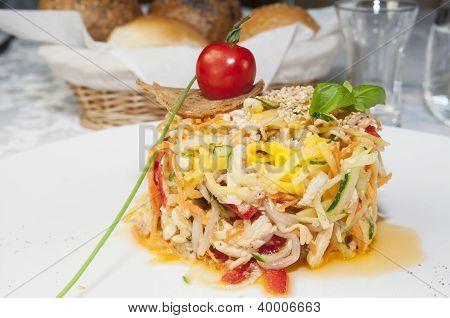 salad greens and vegetables