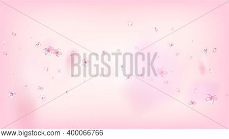 Nice Sakura Blossom Isolated Vector. Feminine Flying 3d Petals Wedding Border. Japanese Oriental Flo