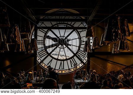 Paris, France - October 28, 2017: Inside View Of A Giant Glass Clock In Restaurant Of Orsay Museum (