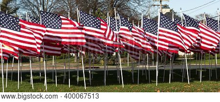 Horizontal View Of Any American Flags Stuck In The Ground Blowing In The Wind.