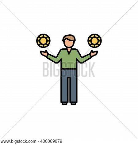 Gambler, Casino Line Icon. Signs And Symbols Can Be Used For Web, Logo, Mobile App, Ui, Ux On White