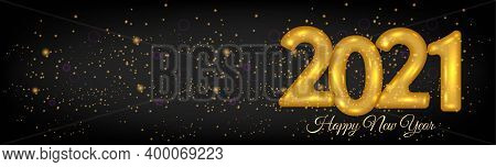 2021 New Year 3d Number Design Horizontal Poster On Black Background - New Year 2021 3d Number Desig