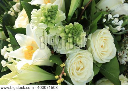 White Wedding Bouquet: Big White Lilies And Roses