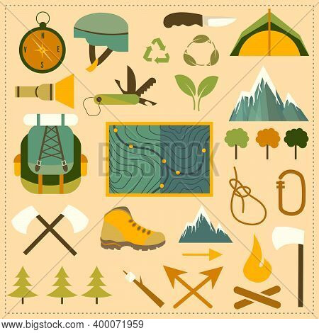 Flat Vector Illustration Of Hiking Equipment. A Set Of Elements For Camping And Hiking. A Set Of Ico