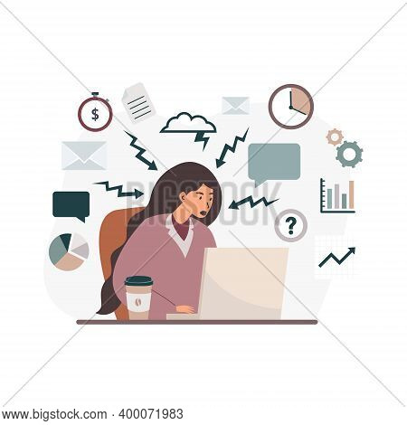 Flat Cartoon Illustration Of A Woman Under Stress Working At A Laptop. Emotional Burnout. Burnout Of