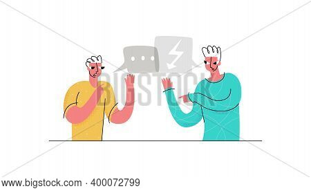 Vector Flat Illustration Concept Of Swearing, Arguing, Competing Men. Also Shown Are Colloquial Bubb
