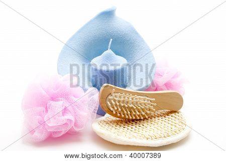 Blue Candle with Massage Brush