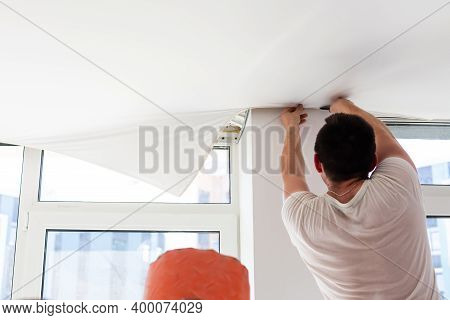 Installation Of Stretch Ceiling. Niche For Stretch Ceiling. Stretch Ceiling, Work.