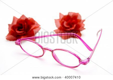 Eyeglasses with Red Flower