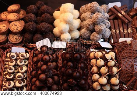 Luxurious Chocolate Pralines At A Market In Barcelona, Spain