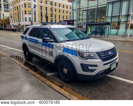 Chicago, Il December 12, 2020, Cpd Chicago Police Department Cop Car, Squad Car Parked Along The Sid