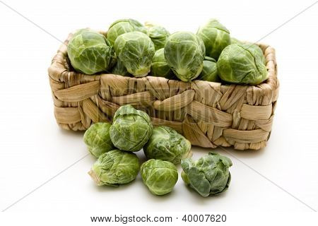 Green Brussels sprouts in basket