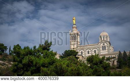 Marseille, France, Oct 2020, View Of Notre-dame De La Garde,or