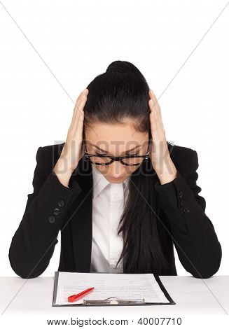 Portrait of upset business woman