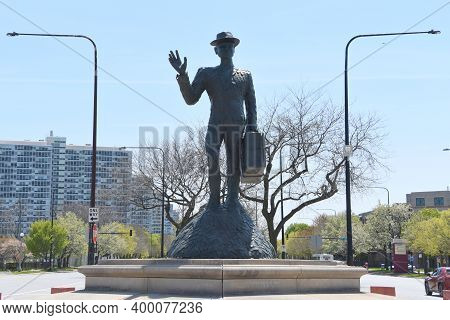 Chicago, Il May 17, 2020, Monument To The Great Northern Migration Under A Blue Sky