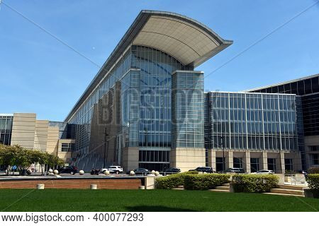 Chicago, Il May 17, 2020, Mccormick Place Convention Center Front Entrance Under A Blue Sky