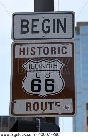 Chicago, Il May 17, 2020, Marking For The Beginning Of Historic Route 66 Road Sign