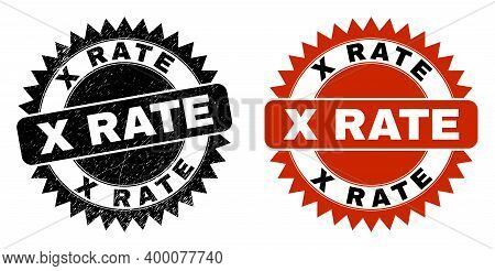Black Rosette X Rate Seal Stamp. Flat Vector Distress Seal Stamp With X Rate Text Inside Sharp Roset