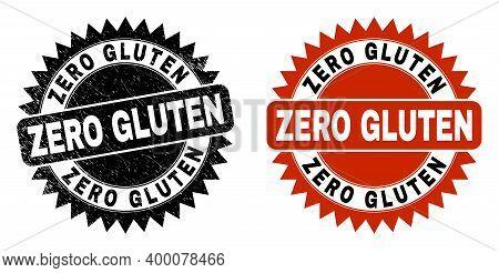 Black Rosette Zero Gluten Watermark. Flat Vector Grunge Watermark With Zero Gluten Title Inside Shar