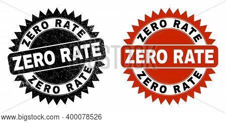 Black Rosette Zero Rate Watermark. Flat Vector Textured Watermark With Zero Rate Text Inside Sharp R