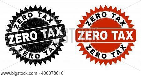 Black Rosette Zero Tax Stamp. Flat Vector Grunge Seal Stamp With Zero Tax Phrase Inside Sharp Rosett