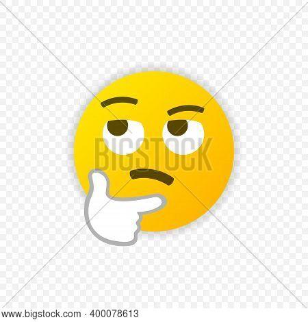 Pensive Or Thinking Emoji Icon Isolated. Thinking Emoticon Symbol. Vector Illustration Eps 10