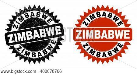 Black Rosette Zimbabwe Seal Stamp. Flat Vector Textured Watermark With Zimbabwe Message Inside Sharp