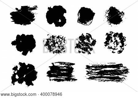 Abstract Expressive Textured Black Ink Or Watercolor Round And Square Brush Strokes. Dynamic Isolate