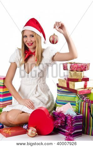 Happy woman after christmas shopping