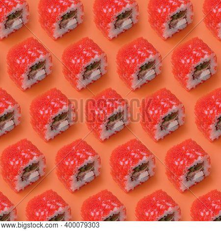 California Maki Sushi Rolls With Caviar And Masago On Orange Background. Minimalism Top View Flat La