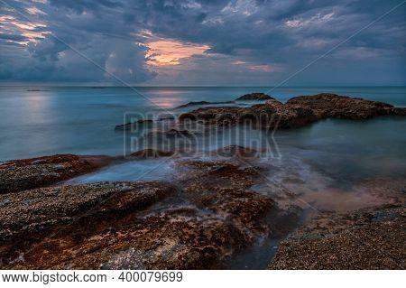 Coast of the Andaman sea at colorful sunset, Khao Lak, Thailand.