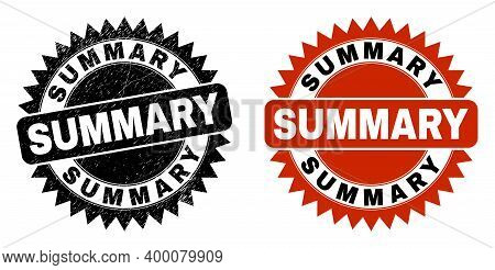 Black Rosette Summary Seal Stamp. Flat Vector Grunge Seal With Summary Caption Inside Sharp Rosette,