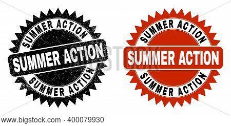 Black Rosette Summer Action Watermark. Flat Vector Textured Watermark With Summer Action Text Inside