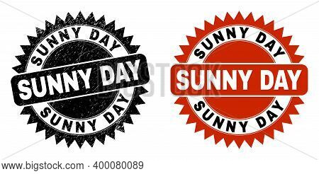 Black Rosette Sunny Day Seal. Flat Vector Grunge Stamp With Sunny Day Phrase Inside Sharp Rosette, A