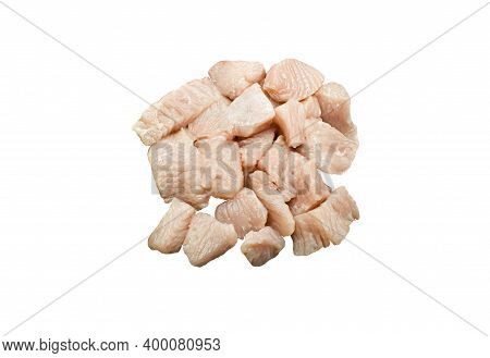 Top View Raw Turkey Breast Peaces Isolated On White Background. Poultry Fillet. Chicken Uncooked Sli