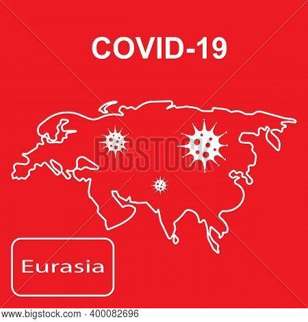 White Outline Map Of Eurasia On A Red Background.