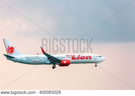 PHUKET , THAILAND- APRIL 7, 2018: Thai Lion  plane takes off from Phuket International Airport. The company was established in 1999