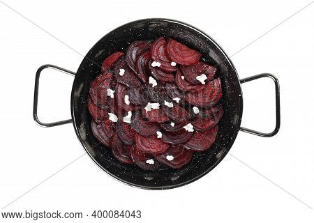 Roasted Beetroot Slices With Feta Cheese In Wok Pan Isolated On White, Top View